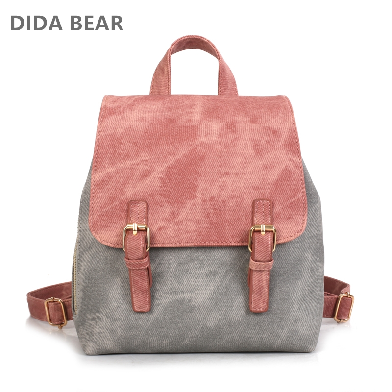 DIDA BEAR Brand Women Pu Leather Backpacks Female School bags for Girls Teenagers Small Backpack Rucksack Mochilas Sac A Dos 2016 new fashion backpacks men travel backpack women school bags for teenagers girls mochilas simple leather backpack sac a dos