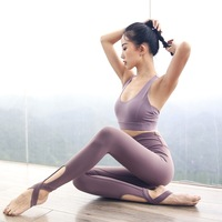 EF0169 Yoga Set Crisscross Stirrup Fitness Leggings Women Sports Bra Suits Tops Yoga Running Sport Pants Gym Clothes Workout