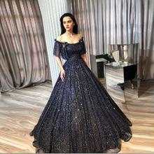 Long Glitter Arabic Evening Formal Dress 2019 Sparkly A line Boat Neck  Puffy Three Quarter Navy 015c7895c6c2