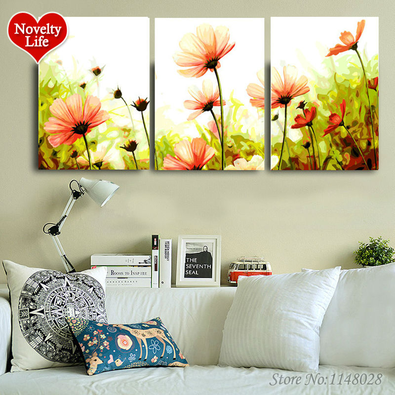 Frame Daisy Flower DIY Oil Painting by Numbers Triptych 3 Pictures Modular Coloring by Numbers Abstract Paint Home Decoration