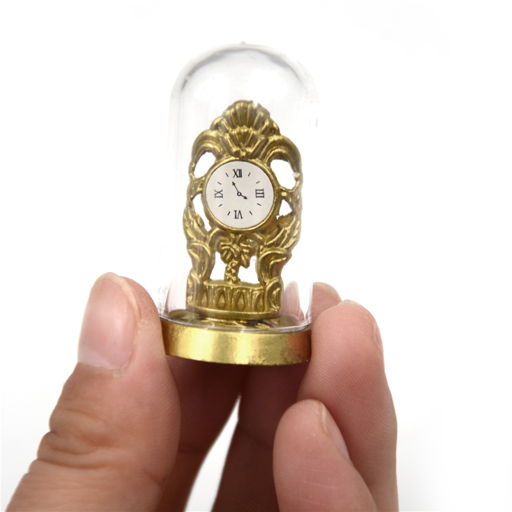 Crystal Cover Retro Small Clock DIY Furniture Dollhouse Miniature 1:12 Domed Clock Gold Tone Mini Doll House Bedroom Accessories image