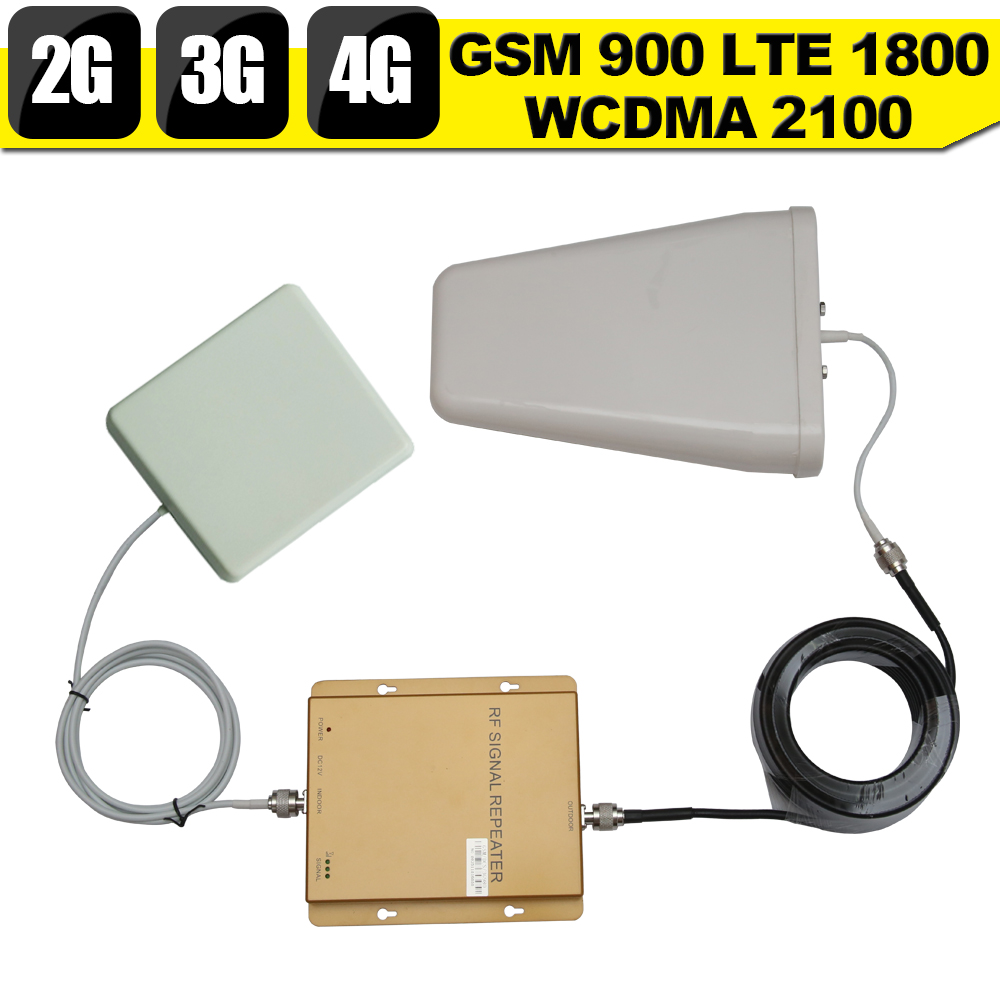 GSM 900 3G WCDMA 2100 4G LTE 1800 Tri Band Mobile Phone Signal Booster 65dB 2G