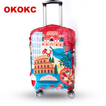 OKOKC czerwony wzór podróży walizki pokrywa ochronna 4 rozmiary S M L XL dla walizka na kółkach 18 #8221 -32 #8221 elastyczna walizki ochronna Cove tanie i dobre opinie Poliester 82cm Polyester W0008 35cm Patchwork 0 25kg Klapy Bagażnika Akcesoria podróżnicze 57cm