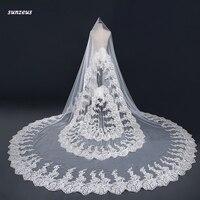 Luxury Lace Wedding Veils For Saudi Arabic Women Long Veils Brides One Layer Appliques Cathedral Veil accessoir pour le mariage