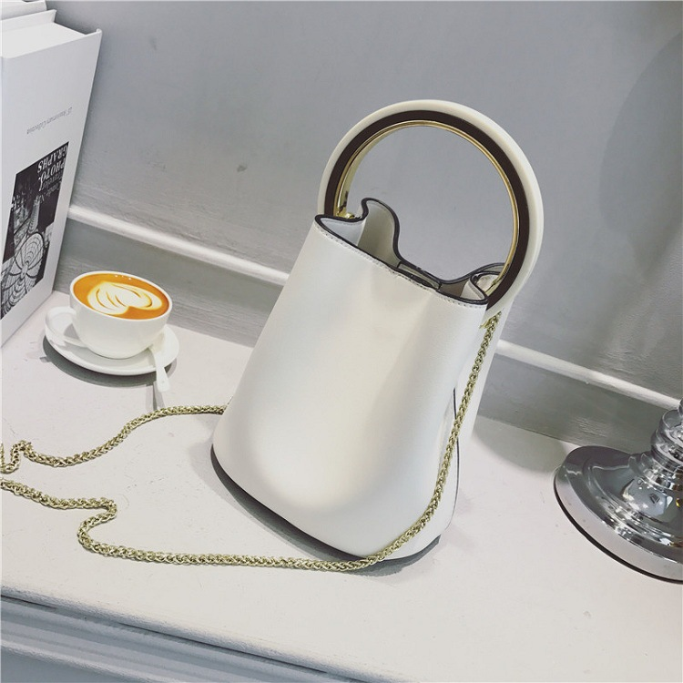 HANYUNA PU Leather Big Capacity Bucket Bag with Gold Metal Round Top Handle for Fashion Ladies Purses