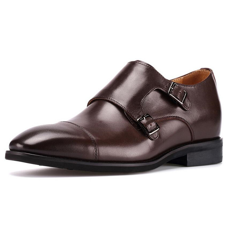 New Men Leather Monk Straps Buckle Height Increasing Shoes with Cap Toe Taller Height 6cm for Wedding Party