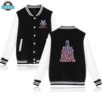 2018 Kpop MONSTA X Baseball Jacket Latest Album Zip up Hoodies Fans Support Sweatshirt Wonho YOOKIHYUN I.M Jooheon Clothing