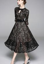 High quality 2018 Autumn New Arrival Plus Size M-XXXL Fashion Round Collar Three-quarter Sleeve Woman Lace Long Dress Black