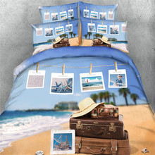 3D shell starfish printed bedding set children oil painting bed linens 3/4c cotton quilt/duvet covers Queen/Full twin king size
