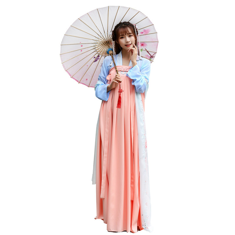 Hanfu Costume Dress Women Improved Hanfu Daily Short Sleeve Hanfu Embroidered Crossdresses Costumes Han Elements Student Set 27