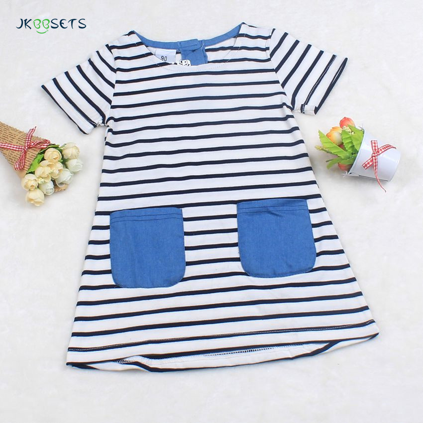 Baby Dresses 2017 New Arrival Summer Kids Baby Girls Dress Casual Pocket Stripe Baby Girl Clothes for 2-6 Years Girls children dresses for girls summer casual stripe baby girl dress 2017 fashion kids clothes 4 6 8 10 12 years girls clothing
