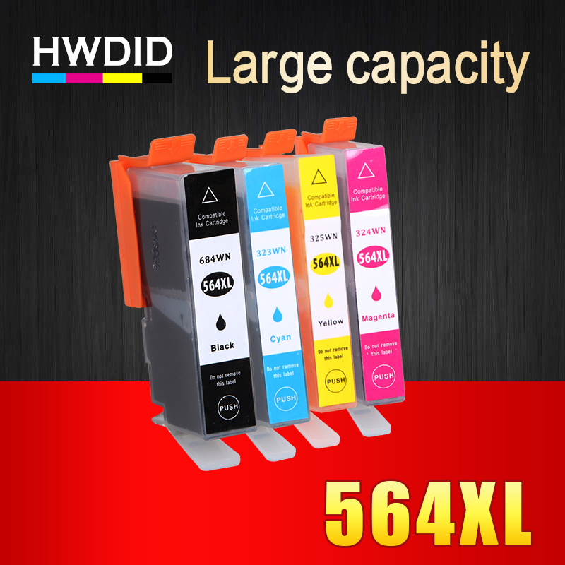 HWDID 564 XL 564XL Compatible ink cartridge For HP Photosmart 5510 5511 5512 5514 5515 5520 5525 6510 6512 6515 6520 7510 7515 2pcs for hp 564 564xl black printer ink cartridge for photosmart 7510 b8500 b8550 c5380 c6375 c6380 inkjet printer free shipping