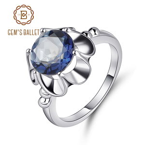 Image 5 - Gems Ballet 2.74Ct Natuurlijke Ioliet Blue Mystic Quartz Bloem Ring 925 Sterling Zilveren Verlovingsring Voor Vrouwen Fijne Sieraden