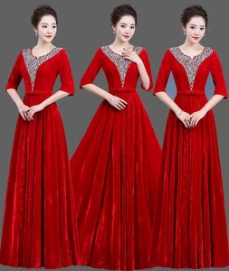 Image 1 - Gold velvet chorus dress costume female dress new adult Slim middle aged choir command service