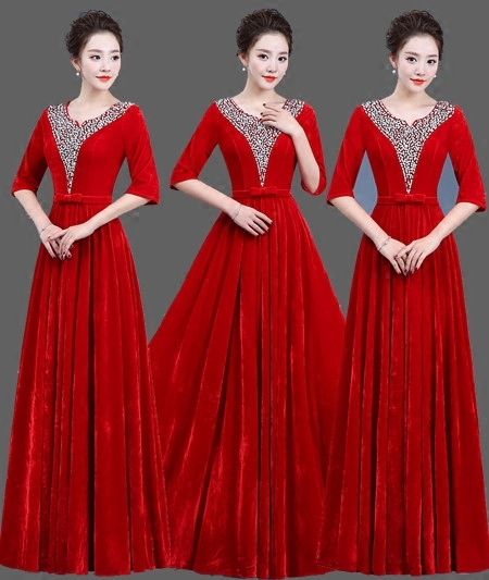 Gold velvet chorus dress costume female dress new adult Slim middle aged choir command service
