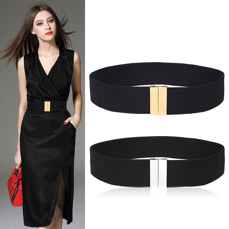 New Waistband HOT Women's Waistbands Elastic Wide Belt Gold Buckle Cummerbund Female Black Strap White Dress Decoration Gifts