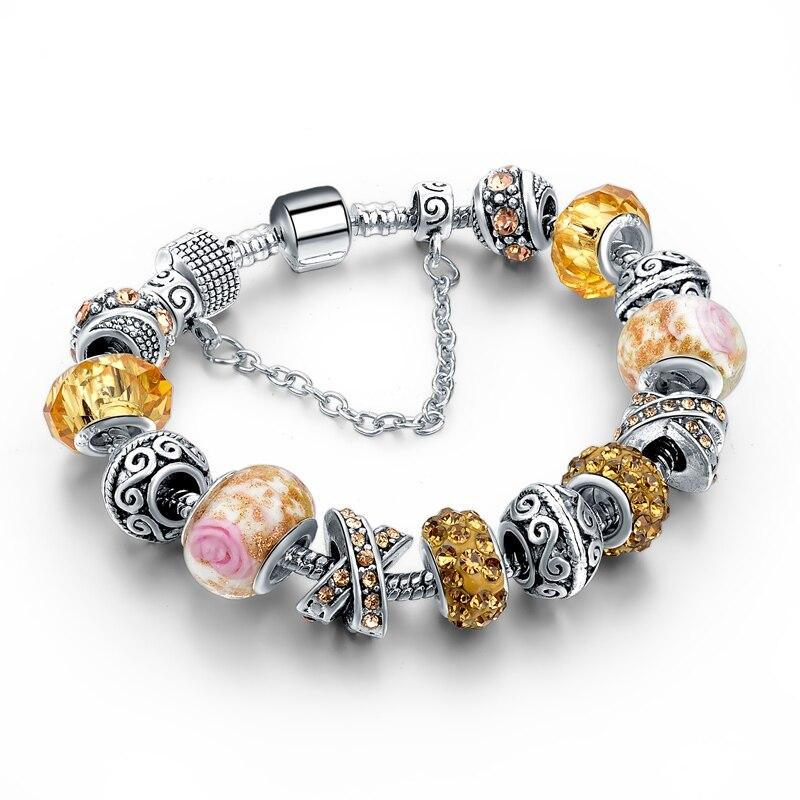 CHICVIE Black Crystal Chain Link Bracelets For Women Female Charm Custom Bracelets & Bangles DIY Silver Color Jewelry SBR160014 26