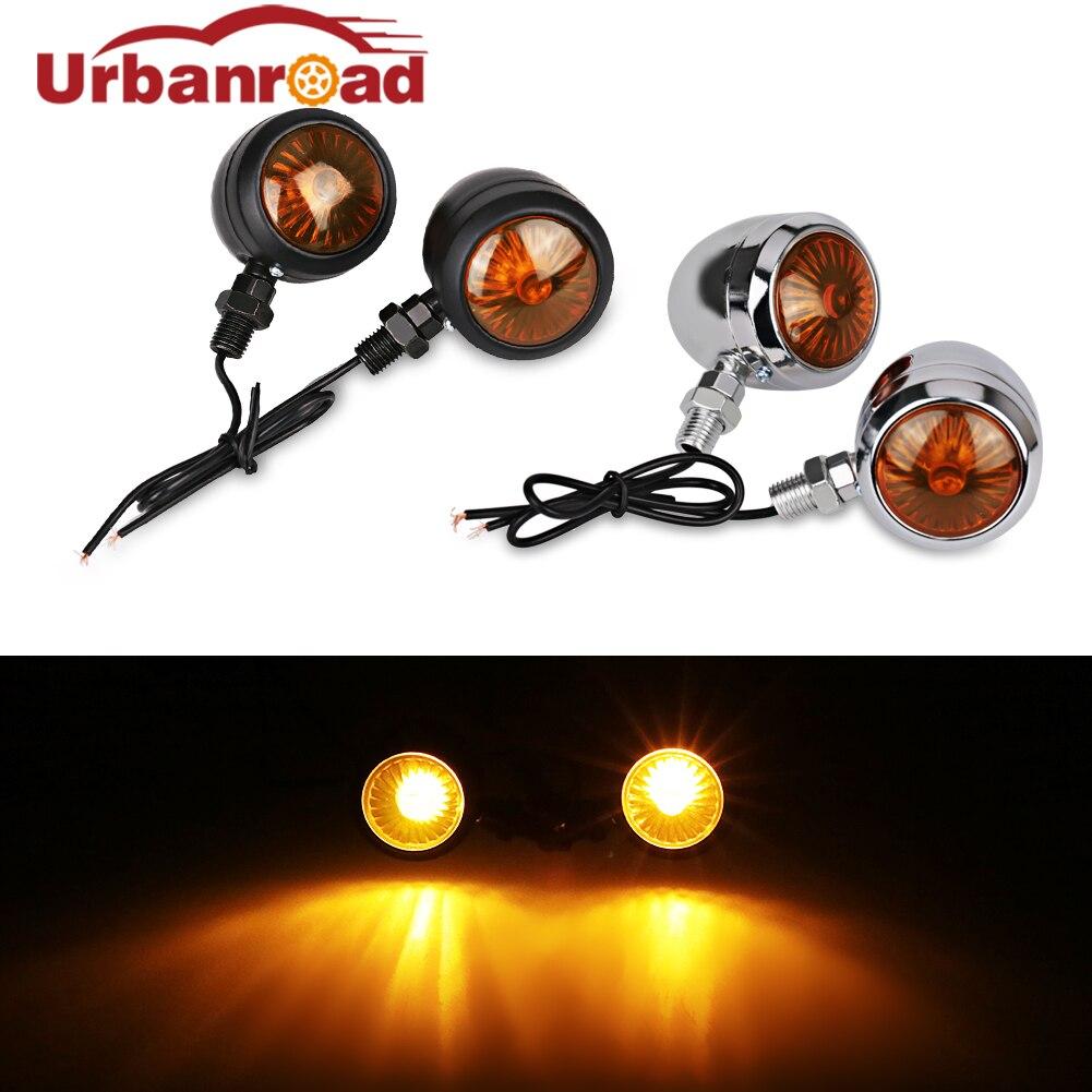 Urbanroad 4Pcs Amber Black Universal Led Motorcycle Turn Signals Indicators Bullet Turn Signal Light Lamp Blinkers Scooter Motor