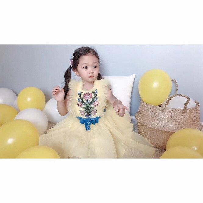 2019 été fleur broderie bébé filles vêtements jaune sans manches maille robe Boutique robe pour filles vêtements - 2