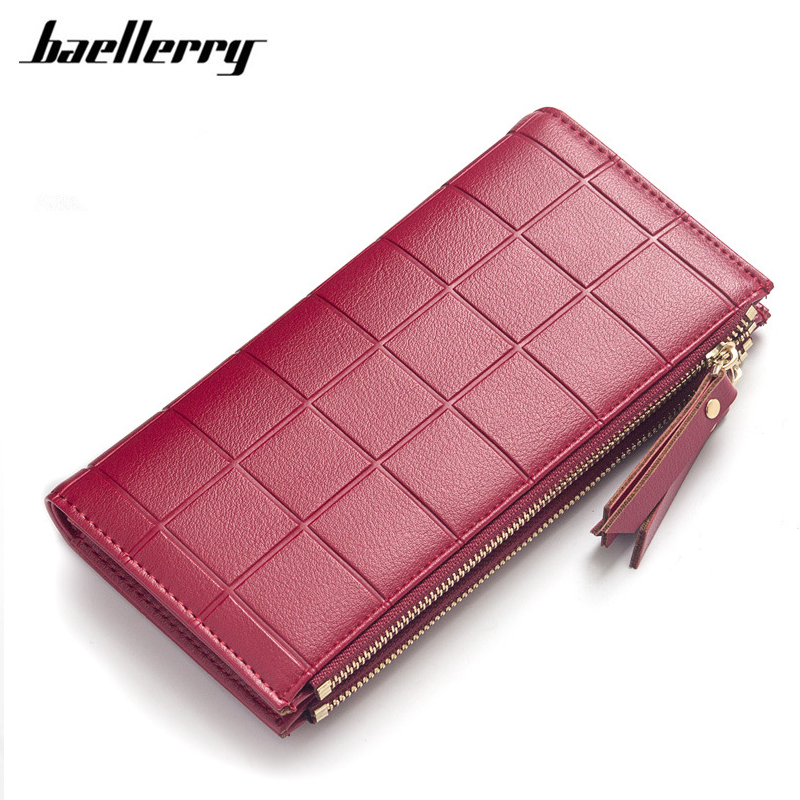 Baellerry Women Wallets Fashion Plaid Double Zipper Purse High Quality PU Leather Wallet Female Card Holders Ladies Handy Bag new multifunction man wallets 3 colors mens pu leather zipper business wallet card holder pocket purse hot plaid pouch fashion