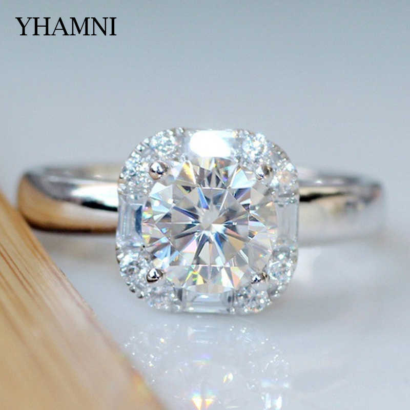 YHAMNI 100% Original Solid 925 Sterling Silver Ring Shiny 2 Carat Round CZ Elegant Beauty Fashion Ring Jewelry Wholesale RA0358