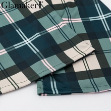 Glamaker Knitted plaid flare pants capris Women bodycon casual pants bottoms Autumn elegant high waist party club trousers