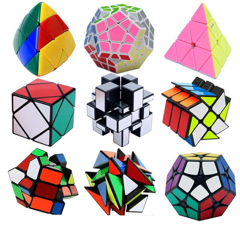 Strange Shape PVC Sticker Magic Cube Educational Puzzles Learning Toys Skewb Megaminx Fisher Puzzle Cube Magico