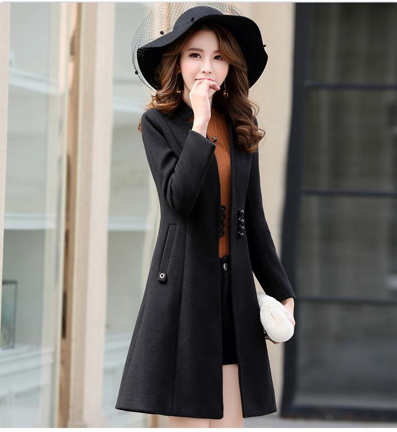 Outerwear Overcoat Autumn Jacket Casual Women New Fashion Long Woolen Coat Single Breasted Slim Type Female Winter Wool Coats 22