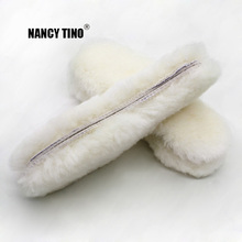 NANCY TINO Unisex indlægssåler til sko Real Fur 100% Natural Sheep Wool Warm Soft Komfortabel termisk vintersål Stor størrelse 35-45