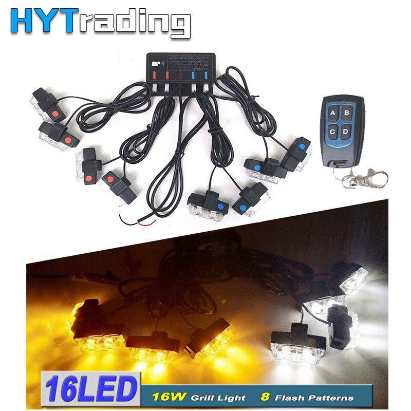 16 LED Emergency Flashing Warning Strobe Light 12V LED Car Front Grille Deck For Police Dash Lights Red&Blue Car Styling