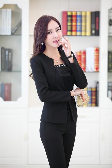 Plus Size 4XL New Professional Business Suits Jaquetas E Calças Outono Inverno Calças Pantsuits Define Styles Uniforme Feminino