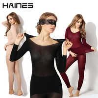 HAINES hiver 37 degrés température constante thermique ensembles pour les femmes chaud hiver vêtements deux pièces ensemble conjonctos de mujer