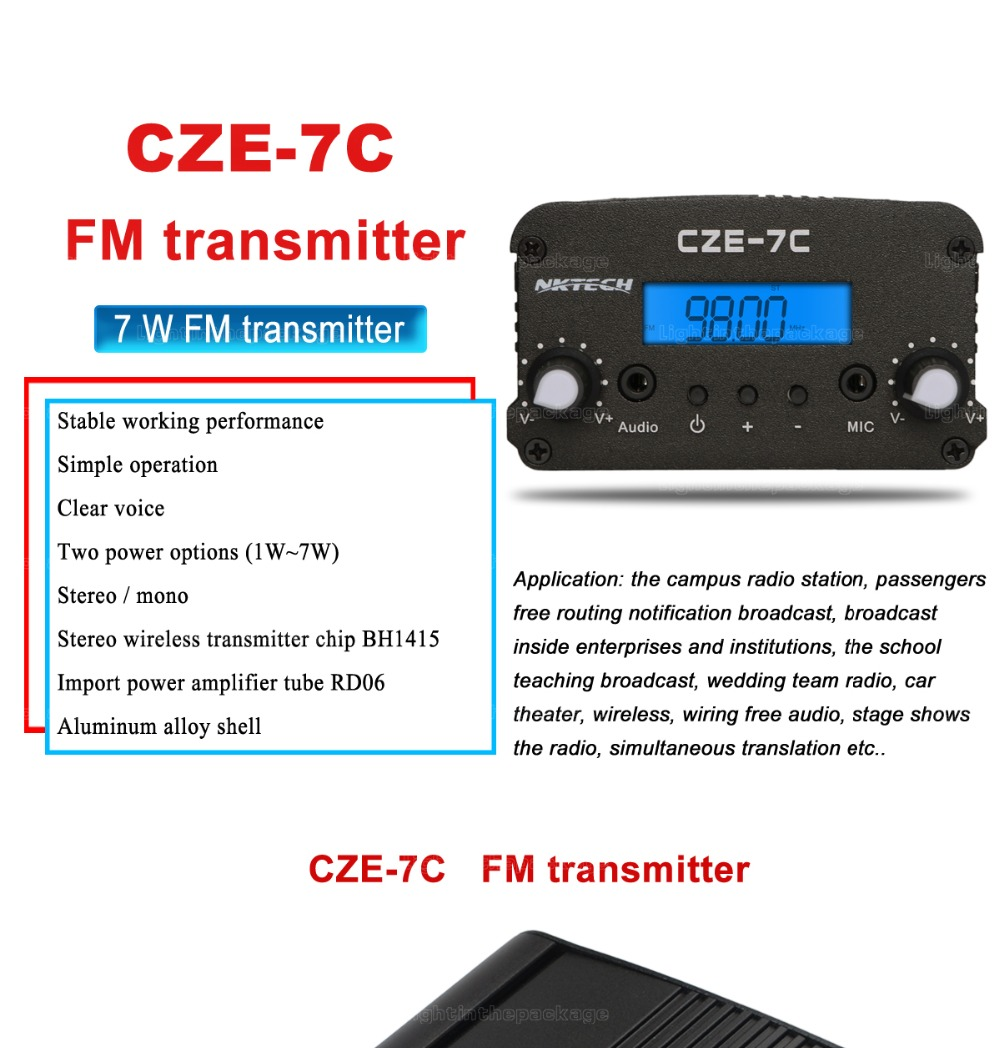 Nktech Cze 7c Pll Fm Transmitter Radio Broadcast Station 1w 7w 1 Watt High Power Circuit Board The Stereo Can Be Used For Factories Schools Supermarkets Farms Office Space Or Create Your Own