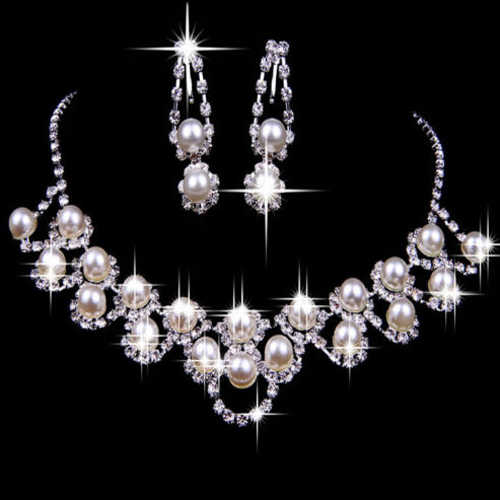 Bridal Wedding Rhinestone Pearl Plated Necklace Earrings Chic Crystal Jewelry set A9CG