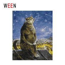 WEEN Night Roof Diy Painting By Numbers Cat Sitting Oil On Canvas Star Cuadros Decoracion Acrylic Wall Art Home Decor