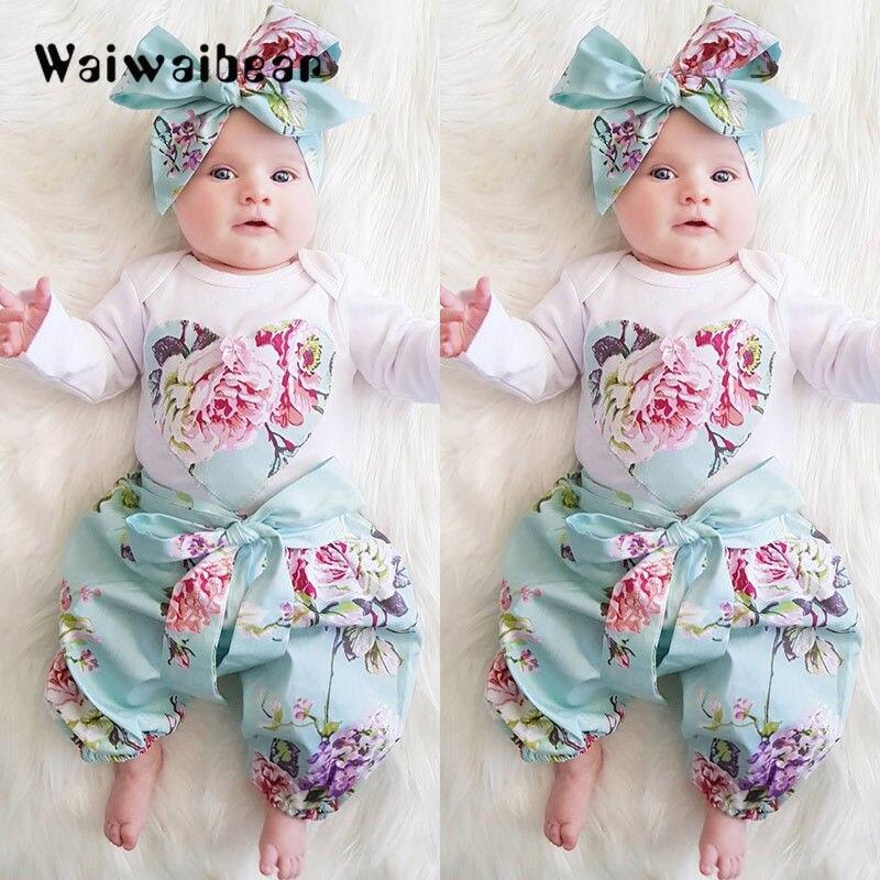 Conjuntos de Bebê Recém-nascido Rompers Tops + Calça + Headband do Bebê Longo-Sleeved 3PCS Ternos Outfits Roupas de Bebê Para Meninas