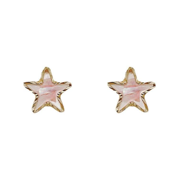 4 ชิ้น/เซ็ตเกาหลี 925 เงินเข็ม Pentagram Shell ต่างหู Chic Sequins หญิงเพิร์ลสตั๊ดเครื่องประดับหู