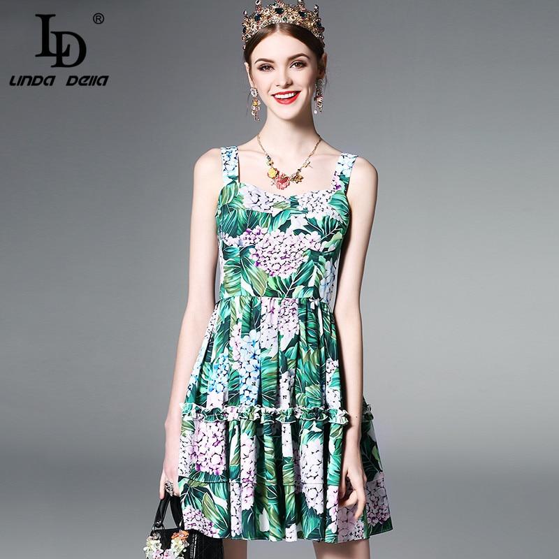 Buy Cheap High Quality Runway Designer Summer Dress Women's elegant Backless Spaghetti Strap Casual Green Floral Print Short Dress vestido