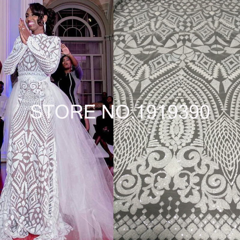 High Quality White African Lace Fabric Sequins French Tulle Lace Fabric 2019 Latest Arrival Hot Sale 5 Yards For Dress M1058 Lace