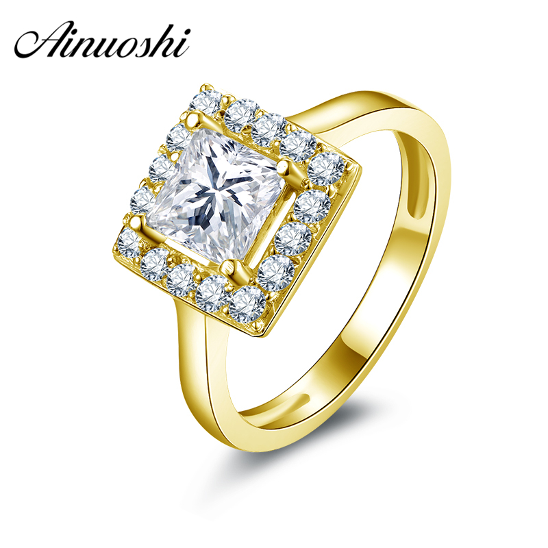AINUOSHI 10k Solid Yellow Gold Engagement Ring 1.25 ct Princess Cut Halo Jewelry Simulated Diamond Women Anniversary Band Ring