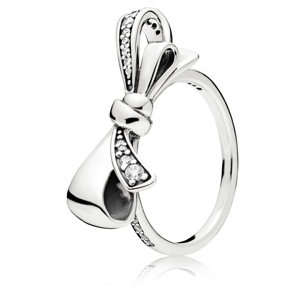 Boosbiy Silver Plated Fashion Ring With Crystal Bowknot For Women Birthday Jewelry Gift DIY Eoropean Style Brand Jewelry Gift in Rings from Jewelry Accessories