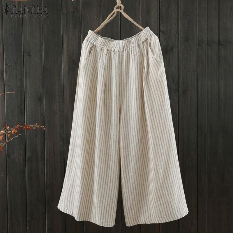 Women Striped Cotton Linen   Wide     Leg     Pants   ZANZEA 2019 Summer Vintage Loose Casual Trousers Baggy Long Pantalon Sweatpants 5XL