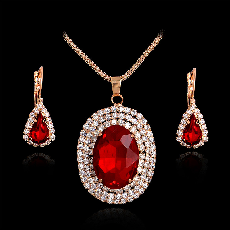 SHUANGR One Set Gold Color Vintage Red Noble Jewelry Sets Chain Necklace Earrings