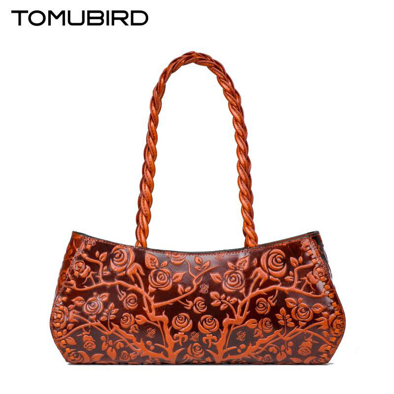 Tomubird Original painted leather handbags Fashion national wind embossed shoulder bag Boston package women's handbags пракседис красота