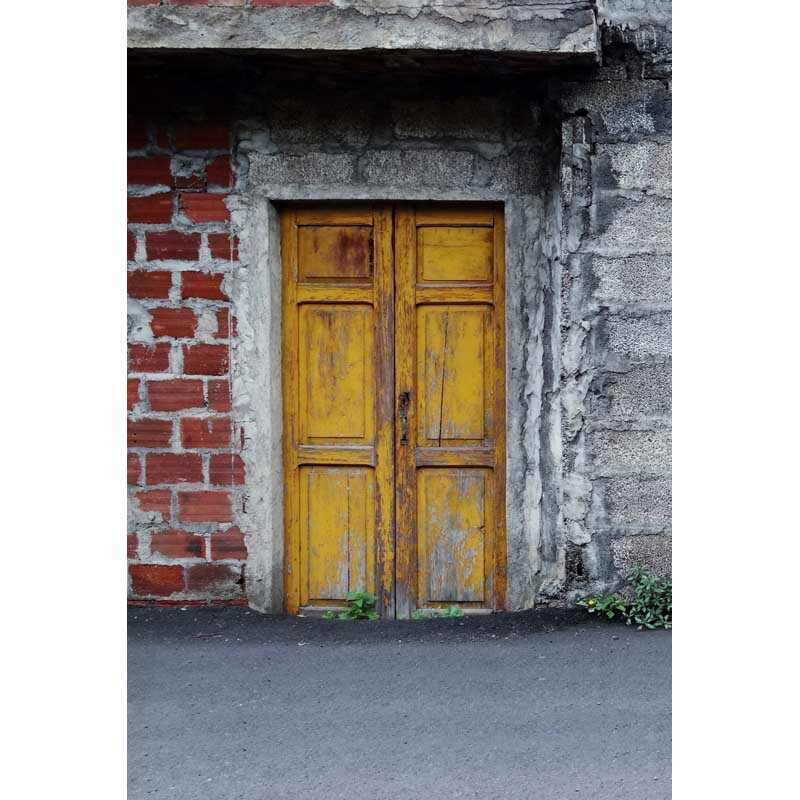 Customize washable wrinkle free brick wall old wood door photography backdrops for kids photo studio portrait backgrounds F-1555 photography backdrops bright yellow wood wood brick wall backgrounds for photo studio