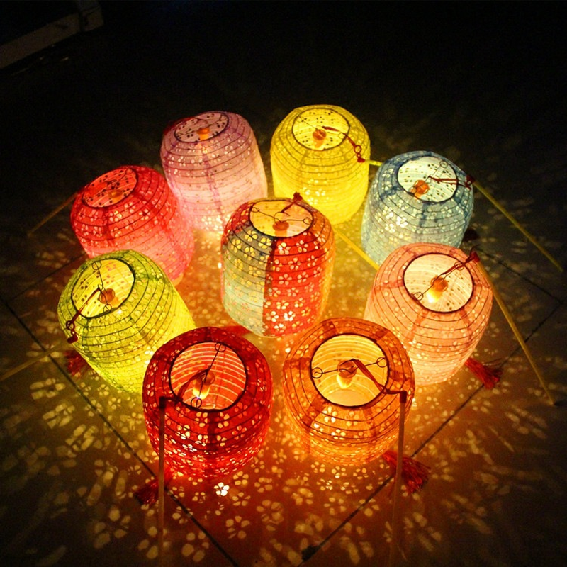 Cylindrical Melon shaped Hollow Paper Lanterns Hot Air Balloon for Home Decoration Accessories Hand held Light emitting Lantern in Lanterns from Home Garden