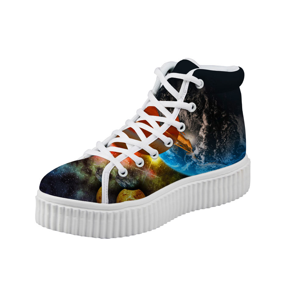 Noisydesigns women Flat Platform Shoes Blue Earth Planet Print High Top Canvas Creepers Ankle Boots Wedge Height Increasing Flat