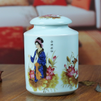 Antique Handmade Ceramic Tea Jar Tea Caddy Restoring Tin Cans Breakfast Candy Sweet Cookies Storage Jars