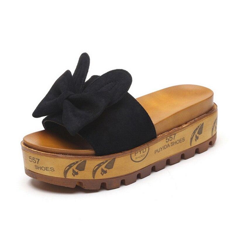 Laamei Для женщин тапочки 2018 лето кроличьи уши замши лук шлепанцы Тапочки Plataformas перетащите пляжная обувь размеры 36–39 женские шлепанцы