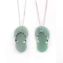 Green aventurine Quartz Stone Shoes Necklace Natural Opalite Tiger Eye Crystal Necklaces Pendants Charms Jewelry